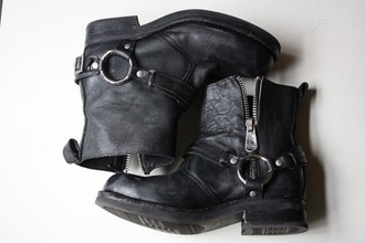 biker boots black leather studded zip buckles biker boots black boots shoes