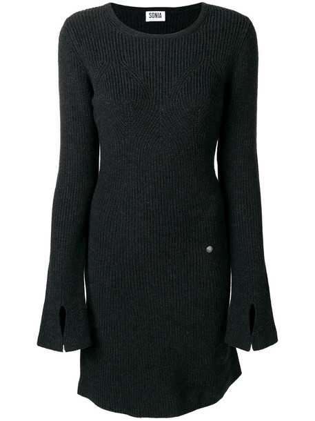 Sonia By Sonia Rykiel - long sleeved knitted dress - women - Cotton/Wool - L, Grey, Cotton/Wool