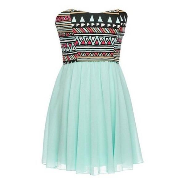 aztec baby blue strapless dress chiffon