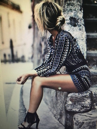 romper print neutral black silver blue shorts long sleeves