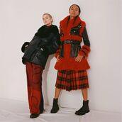 shoes,selfridges,steve madden,biker jacket,boots,red jacket,leather jacket,plaid,plaid skater skirt,winter outfits
