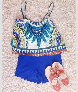 blouse scalloped shorts high waisted blue shorts floral crop tops flowers statement necklace flat sandals tribal pattern light blue summer outfits summer