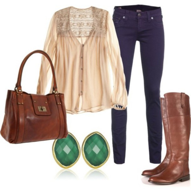 shoes green stone earrings brown leather boots skinny jeans big purse pinterest pink blouse lace blouse back lace button up blouse purse n boots earings blouse