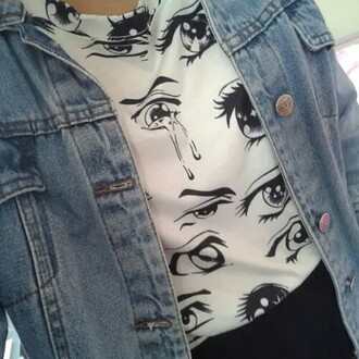 shirt anime eyes graphic tee white t-shirt