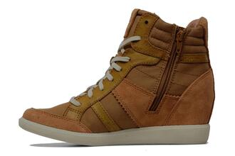 shoes wedge sneakers sneakers lace up brown beige esprit