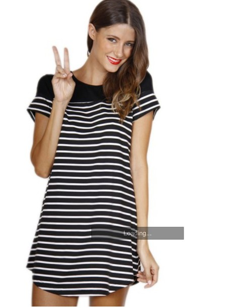 stripes black and white t shirt dress wheretoget