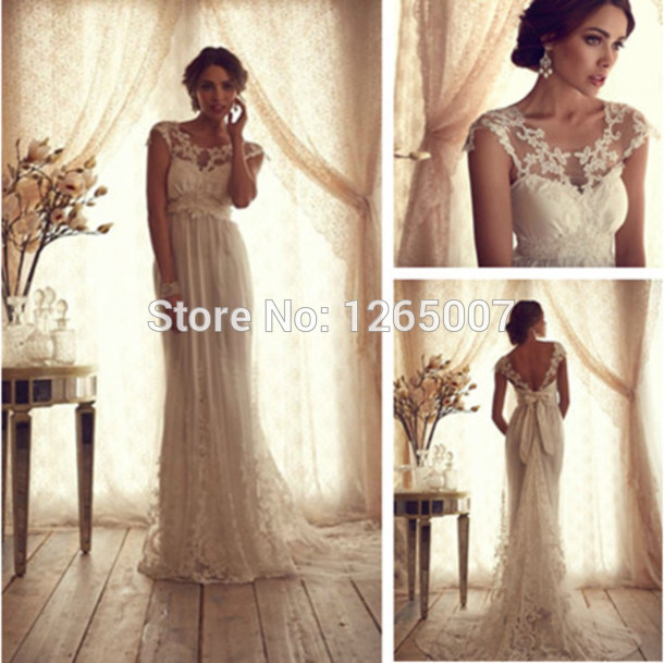 Aliexpress.com : Buy New Fashion Boat Neck Lace Cap Sleeves Open Back Bow A Line Wedding Dress Elegant Lace Bridal Dress 2014 from Reliable lace sheath wedding dress suppliers on SFBridal