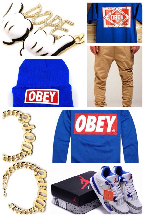 t-shirt blue obey t-shirt shoes sweater hat