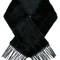 Yves salomon fringed edge oversized scarf, women's, black, silk/lamb skin/mink fur