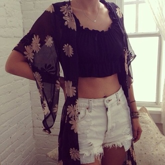 blouse black flowers crop tops black crop top beautifull neckless shorts white yellow blue dress prom dress coat shop girl female tank top shirt