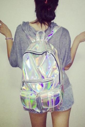 bag girl girly girly wishlist holographic holographic bag backpack back to school