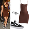 Kylie jenner: brown mini dress, vans old skool | steal her style