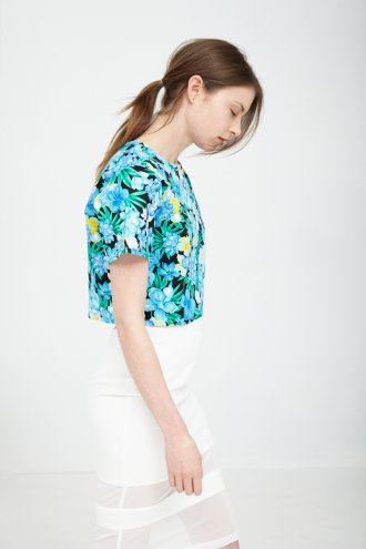 Black & Aqua Tropical Floral Print Boxy Crop Top *As seen on Kelly Osbourne* -  from Lavish Alice UK
