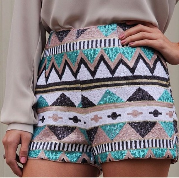 shorts summer boho blue black aztec