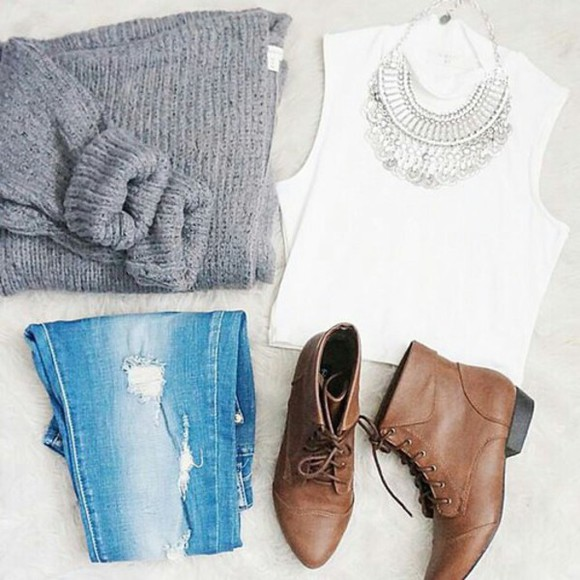 sweater statement necklace ripped jeans ankle boots