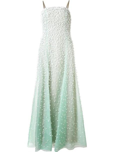 Carolina Herrera gown women silk green dress