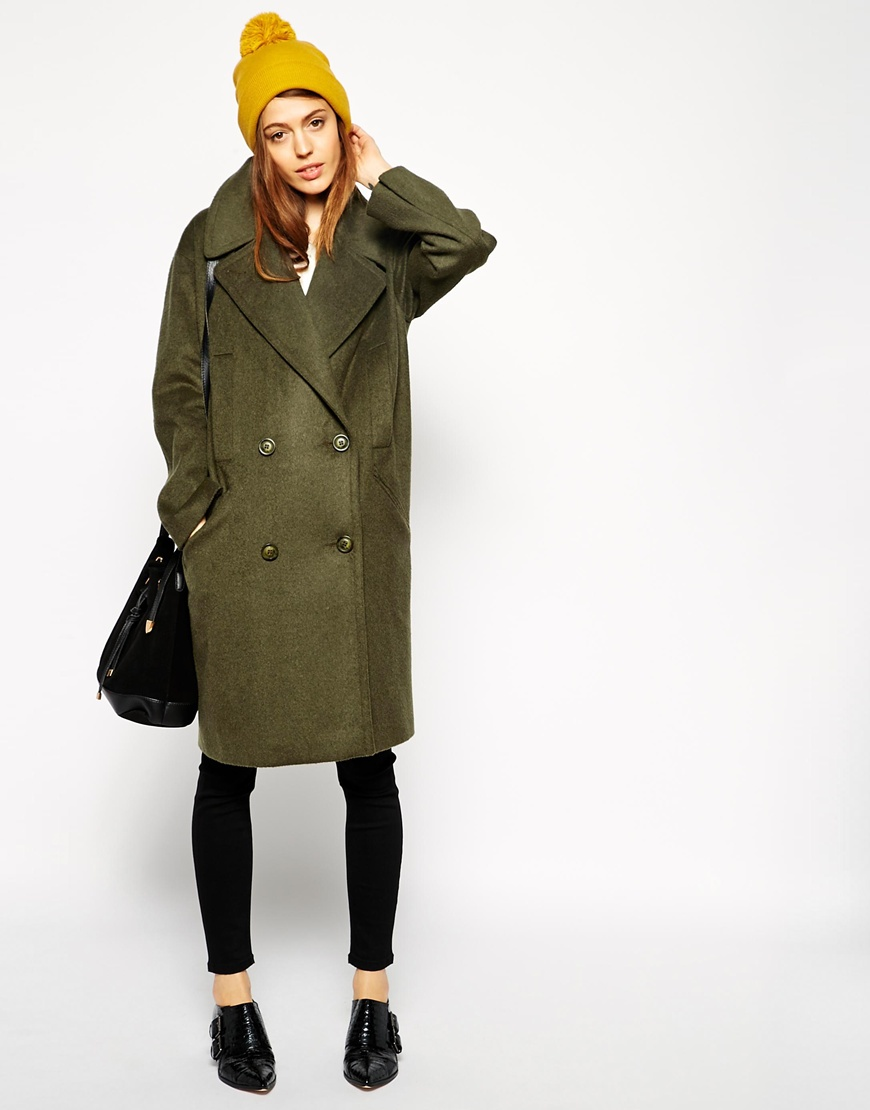 Asos pea coat in oversized cocoon fit at asos.com