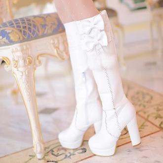 bows bowknot bow knot white boots white shoes kawaii shoes lolita lolita shoes ashion asian fashion boots knee high boots korean fashion kfashion cfashion chinese fashion harajuku tokyo fashion japanese fashion kstyle jstyle waterproof bunny bunny shoes bunny boots