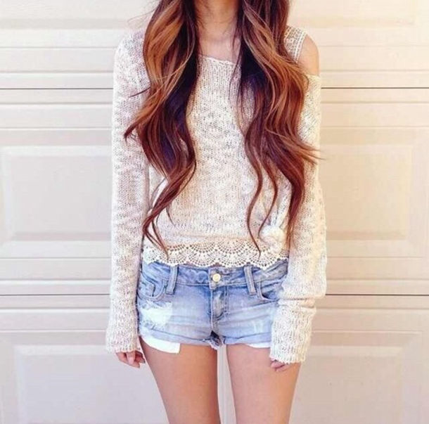 Sweater: white sweater, lace sweater, white lace sweater, lace ...