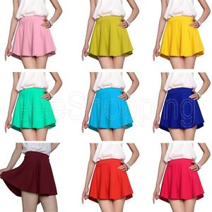Retro Women Lady Casual High Waist A Line Flared Short Mini Skirt Dress 14 Color | eBay