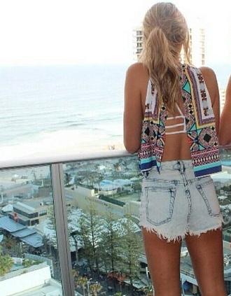 shirt summer shirt backless shirt tribal pattern underwear strappy bra white