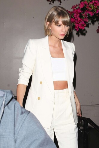 jacket top blazer pants bandeau spring spring outfits taylor swift suit