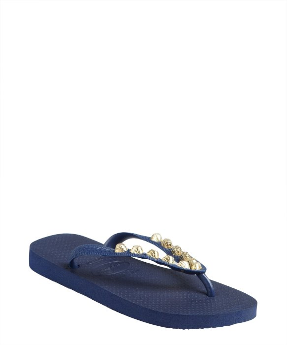 Dini's Los Angeles navy rubber studded thong flip-flops | BLUEFLY up to 70% off designer brands