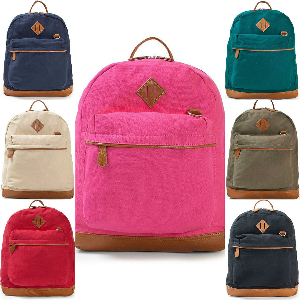 Womens Colorful Classic Cotton Canvas Backpack Book Bag School Bag ...
