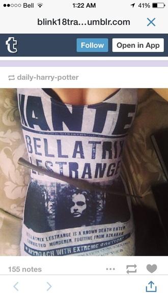 shirt harry potter black and white bellatrix lestrange