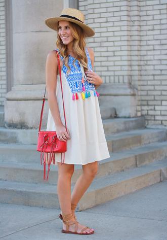 twenties girl style blogger dress bag shoes hat shoulder bag red bag white dress blue dress mini dress flats summer outfits summer dress