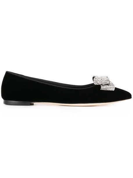 GIUSEPPE ZANOTTI DESIGN women leather black velvet shoes