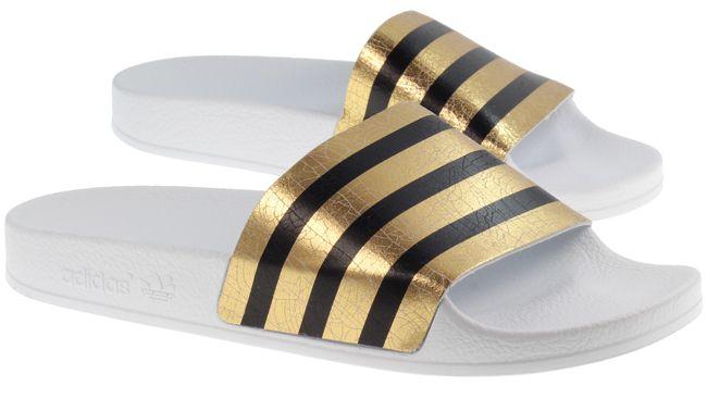 Adidas Womens Adilette Flip Flops White Metallic Gold 2f76303c4f