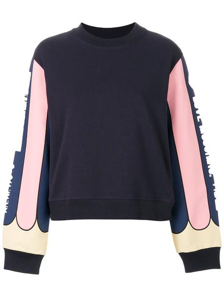 LOVE MOSCHINO sweatshirt women spandex cotton print blue sweater