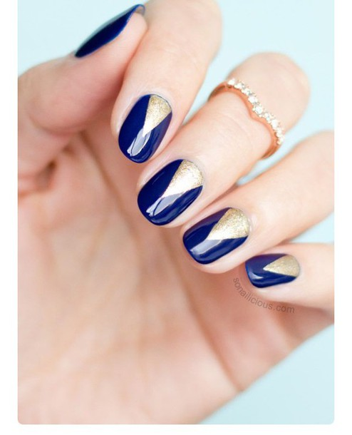 Nail Accessories Navy Blue Art Nails Gold Beautiful Ring Prom Homecoming Diy Easy Simple Polish Beauty