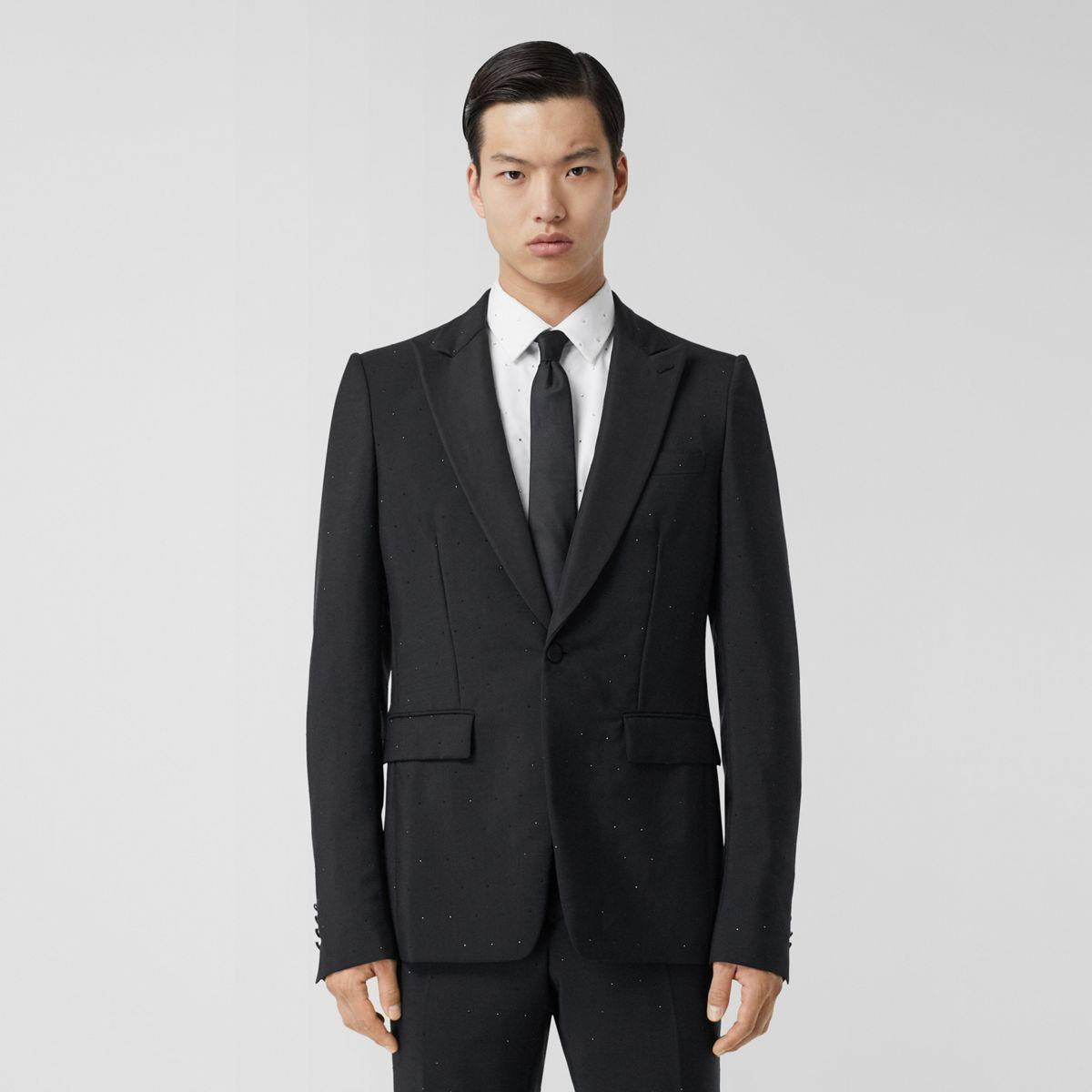 English Fit Embellished Wool Mohair Tailored Jacket
