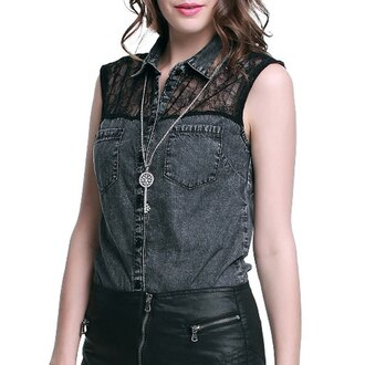 top denim lace black lace sleeveless streetwear grey acid wash casual