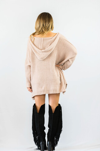 sweater pink hoodie fashion style trendy nude fall outfits oversized cardigan freevibrationz