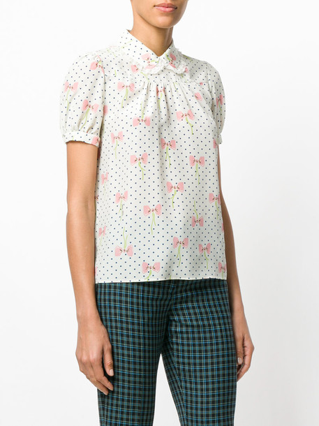 Miu Miu blouse bow women nude silk top