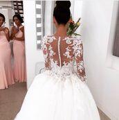 dress,white,wedding,white wedding dress,lace,lace dress,white lace dress,lace top,lace wedding dress,lace applique bridal gown,lace applique dress,lace applique,bridal,buttons,white buttons,beautiful,elegant,elegant dress,gorgeous,gorgeous dress,love,see through dress,see through wedding dress,see through lace,white lace,satin dress,long sleeve dress,sleeved dress,lace sleeves,lace sleeved wedding dress