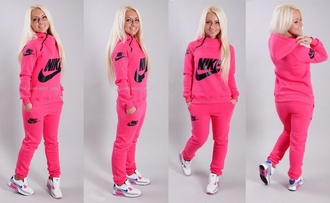 jumpsuit nike neon pink swag hoodie jacket pants sportswear outfit workout tracksuit sports pants