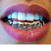 jewels,grillz,gold,soft ghetto,blouse,gold grillz,gold jewelry,melting,drip,mouth,make-up,teeth grillz,teeth jewel