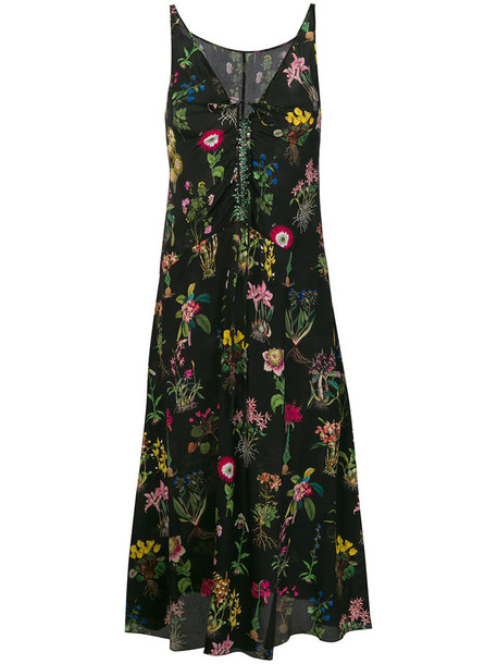 No21 dress women floral black silk