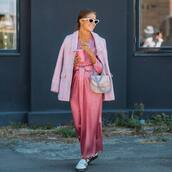 coat,checkered,pink coat,sneakers,maxi dress,silk dress,sunglasses,bag