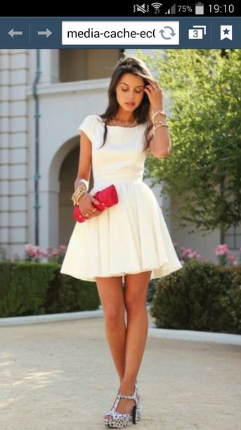 dress white dress skater dress cute dress