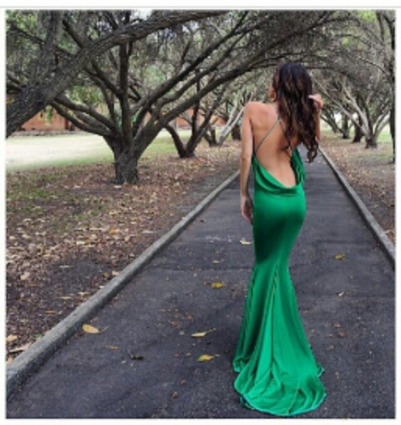 dress long dress green dress long green dress mermaid prom dress backless dress