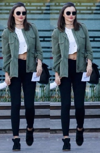 jacket fall outfits fall jacket miranda kerr crop tops sneakers