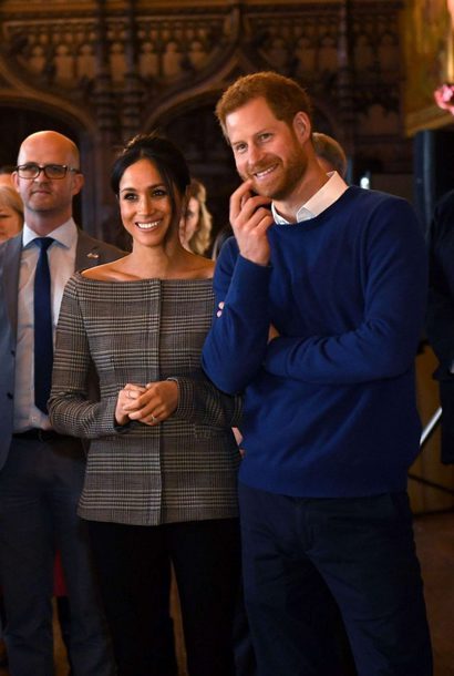 blouse shirt top plaid meghan markle prince harry off the shoulder off the shoulder top