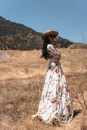 hallie daily,blogger,dress,hat,maxi dress,floral maxi dress,summer outfits