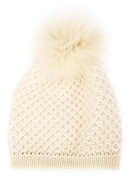 fur fox beanie white hat