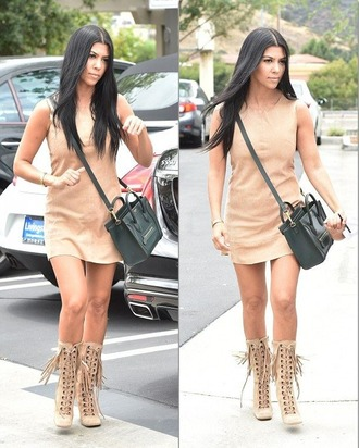 dress leather kourtney kardashian summer dress boots shoes suede dress nude dress